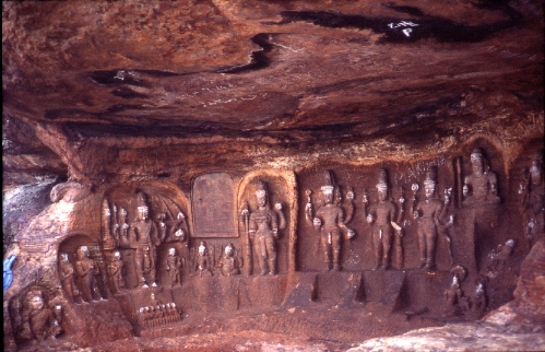 Series of standing Vishnus in natural cavern, Badami
