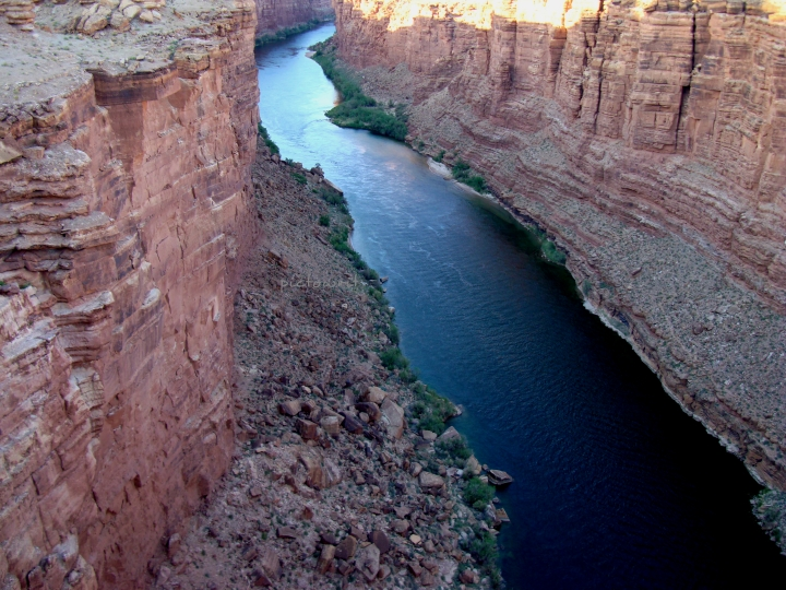 The Colorado River cuts through Marble Canyon, Arizona. We never quite know what lies around the bend, do we?